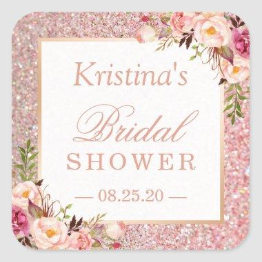 Pink Rose Gold Glitters Floral Bridal Shower Favor Square Sticker