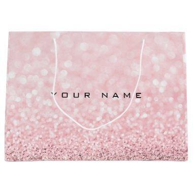 Pink Rose Gold Powder Glitter Favor Gift Name Large Gift Bag