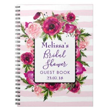 Pink Rose & Poppy Floral Bouquet Bridal Shower Notebook