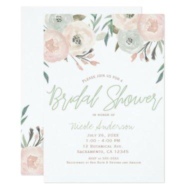 Pink & Sage Mint Green Modern Floral Bridal Shower Invitations