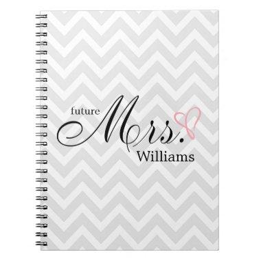 Pink Scribbled Heart Future Mrs Wedding Planner Notebook