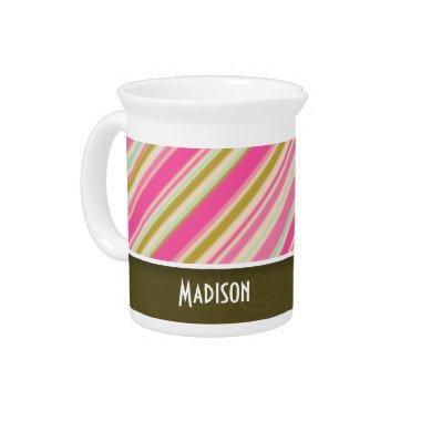 Pink & Seafoam Green Stripes Beverage Pitcher