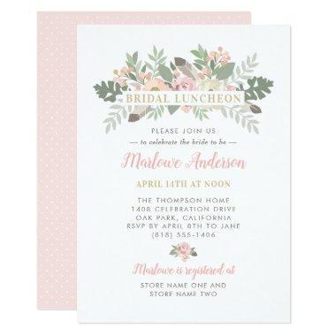 Pink Spring Vintage Boho Floral Bridal Luncheon