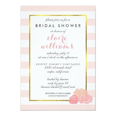 Pink Stripe & Blush Peony Bridal Shower Invitations
