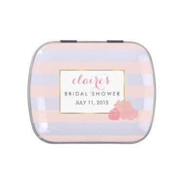 Pink Stripe & Blush Peony  Favor Tin