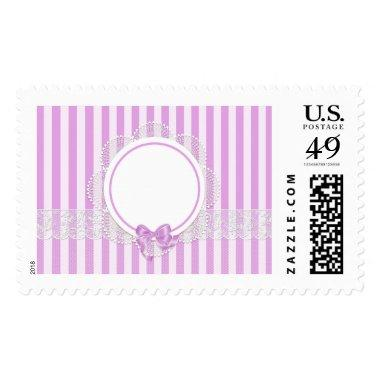 Pink Stripes Delicate Bridal or Baby Shower Postage
