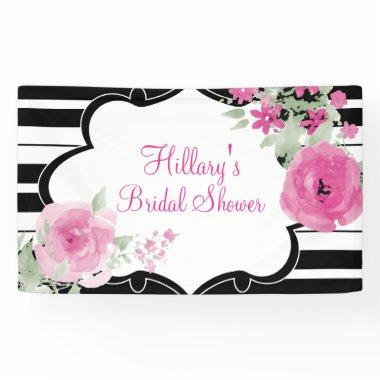 Pink, Stripes, Flowers,  Banner