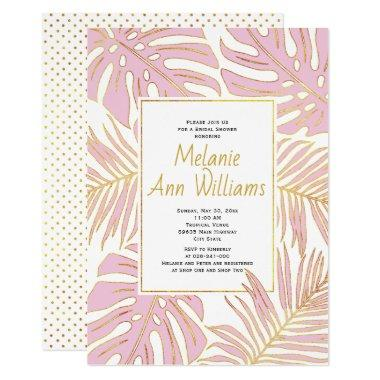 Pink tropical leaves wedding bridal shower Invitations