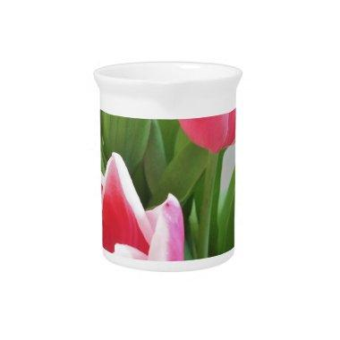 Pink Tulips, Floral Spring Bouquet, Flowers Drink Pitcher