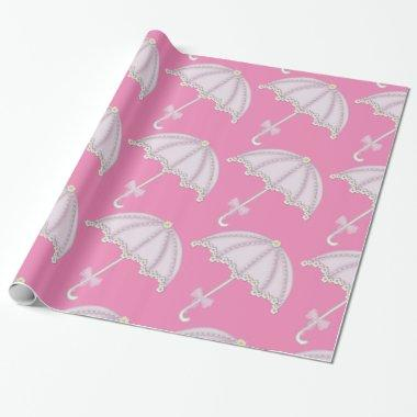 Pink Umbrella  Wrapping Paper