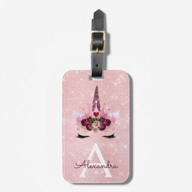 Pink Unicorn Sparkle Princess Monogram Name Bag Tag