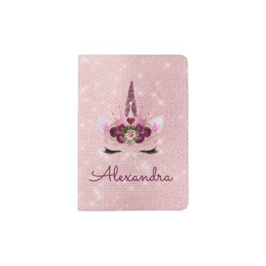 Pink Unicorn Sparkle Princess Monogram Name Passport Holder