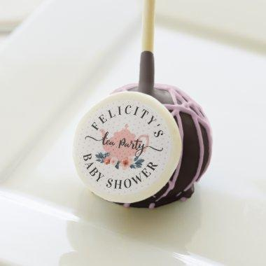 Pink Vintage Floral Tea Party Girl Baby Shower Cake Pops