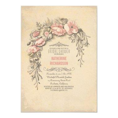 Pink vintage flowers chic old