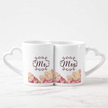 pink vintage flowers mr and mrs spring wedding coffee mug set