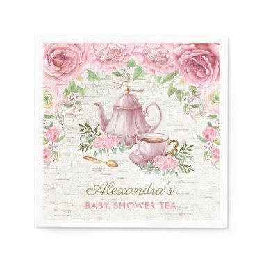 Pink Vintage Roses Baby Tea Party Paper Napkin