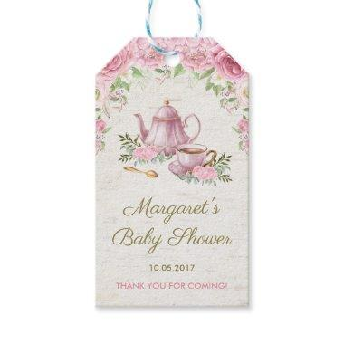 Pink Vintage Roses Floral Tea Party Favor Gift Tag