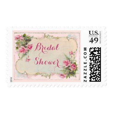 Pink Vintage Roses Shabby Chic Bridal Shower Postage