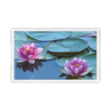 Pink Water Lilies Acrylic Tray