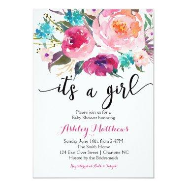 Pink watercolor boho Floral Baby Shower