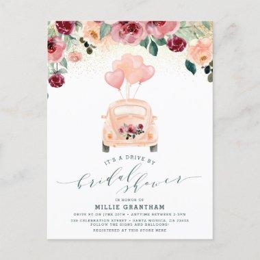 Pink Watercolor Floral Drive By Bridal Shower Invitation PostInvitations