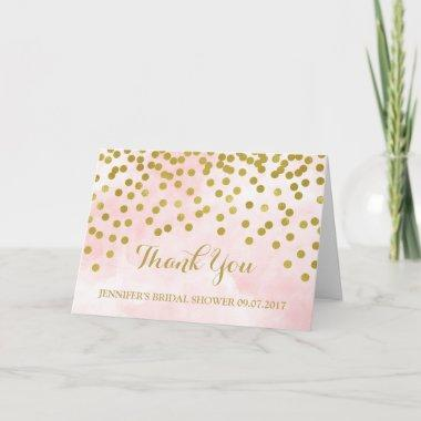 Pink Watercolor Gold Dots Bridal Shower Thank You