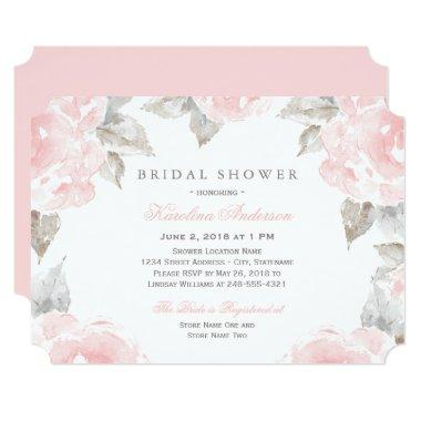 Pink Watercolor Roses | Elegant Bridal Shower Invitations
