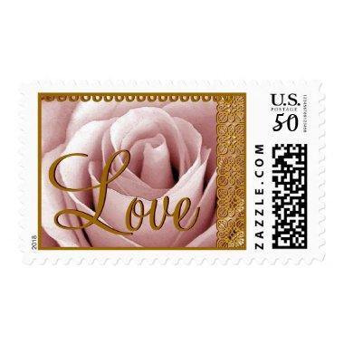 PINK Wedding Monogram Rose with GOLD Lace Postage