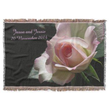 Pink Wedding Rose Throw Blanket