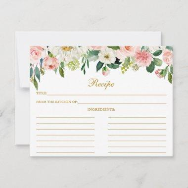 Pink White Floral Shower Gold Recipe Invitations