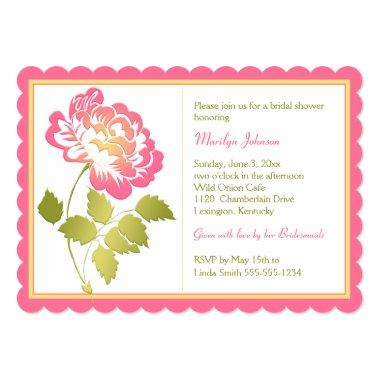 Pink, Yellow, Green, White Peony Bridal Shower Invitations