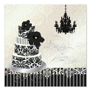 PixDezines Black+White Wedding Cake Bridal Shower Invitations