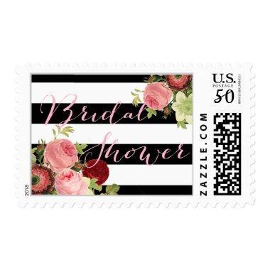 PixDezines /stripes/vintage roses Postage