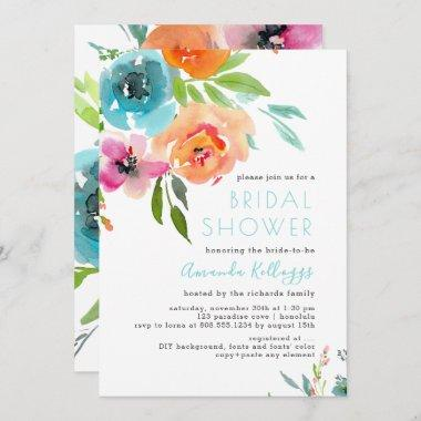 PixDezines Bridal Shower Watercolor Summer Floral Invitations