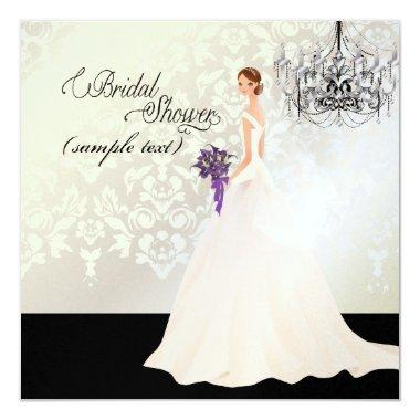 PixDezines Bride 2 B+purple calla Invitations