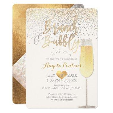 PixDezines Brunch Bubbly/Faux Silver+Gold Confetti Invitations