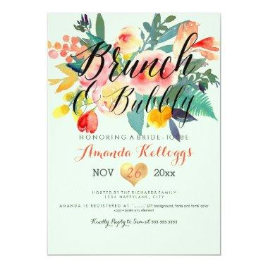 PixDezines Brunch & Bubbly Spring Floral/Coral+Min Invitations