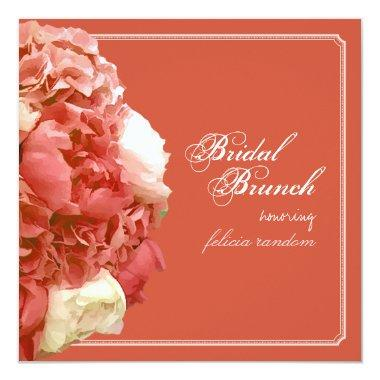 PixDezines Coral Peonies/Hydrangeas/Bridal Brunch Invitations