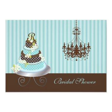 PixDezines monogram cake/teal blue, bridal shower Invitations