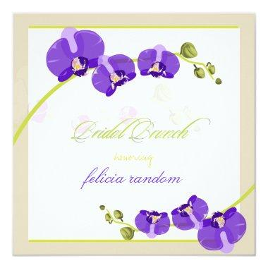 PixDezines purple orchid/bridal/diy background Invitations