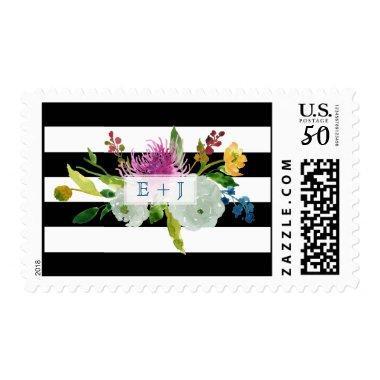 PixDezines watercolor floral/stripes/diy txt Postage