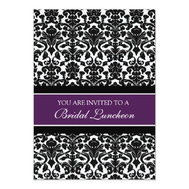 Plum Black Damask Bridal Lunch Invitation