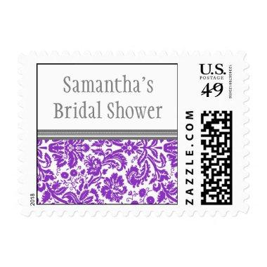 Plum Grey Damask  Wedding Stamp