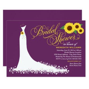 plum purple with yellow sunflowers bridal shower invitations