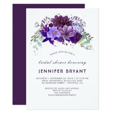 swirly hydrangea deep purple wedding shower invitations unique