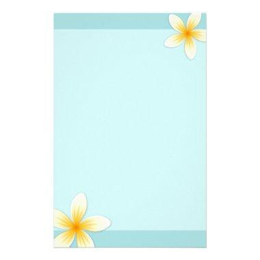 Plumeria Frangipani flower on pale aqua blue Stationery