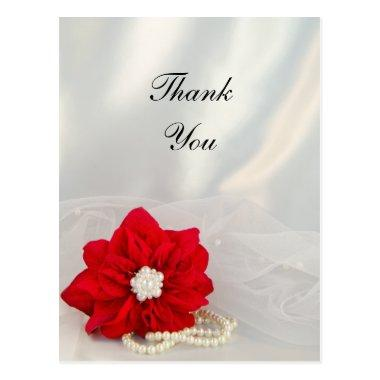 Poinsettia White Pearls Winter Wedding Thank You Post