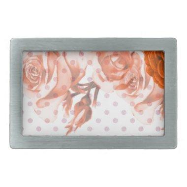 Polka Dots and Roses Rectangular Belt Buckle
