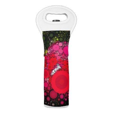 Pop Art Concentric Circles Floral Wine Bag