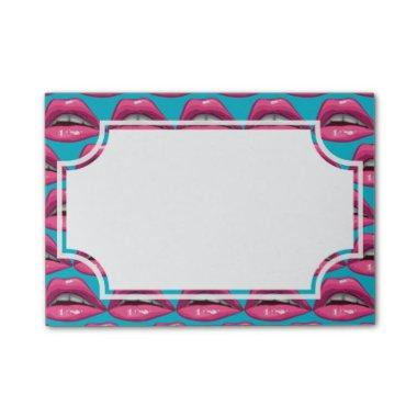Pop Art Pink Lips Makeup Post-it Notes